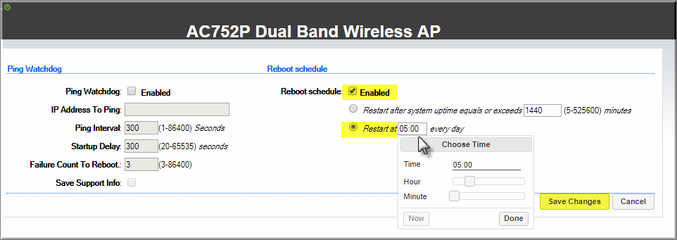 APTEK AC752P - Cấu hình Auto Reboot