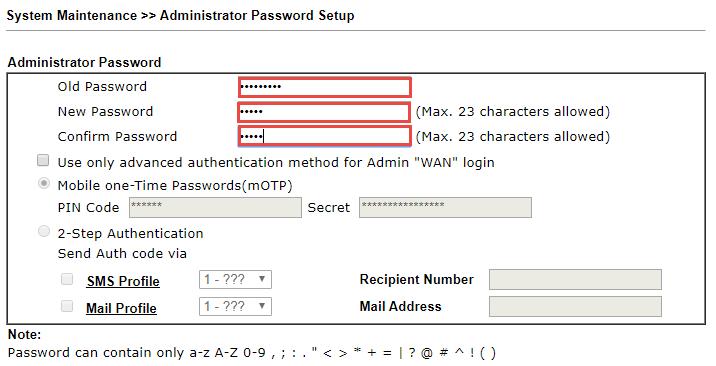 Đổi mật khẩu trang quản trị Draytek