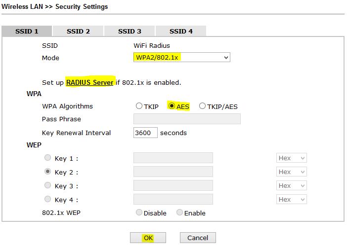 Cấu hình chứng thực với username / password (Radius - 802 1x