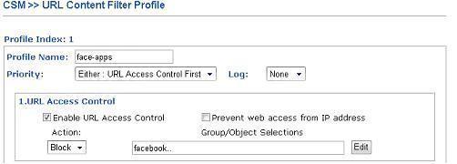 URL Content Filter Profile