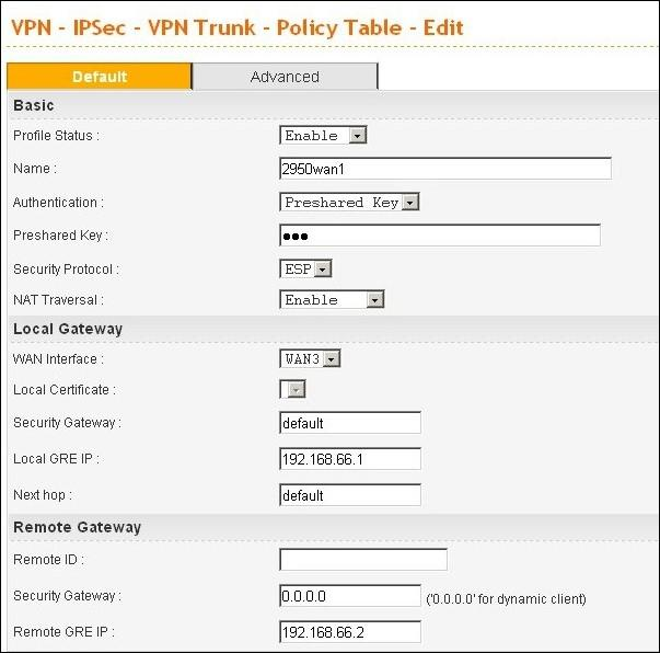 VPN Trunk policy