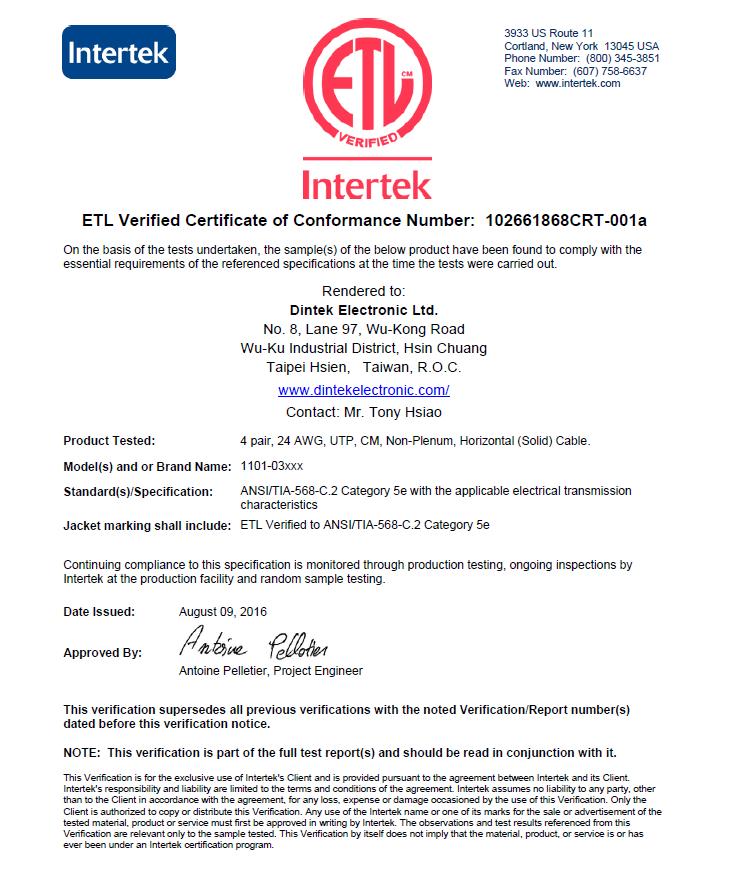 Chứng chỉ ETL cáp mạng DINTEK Cat5e UTP