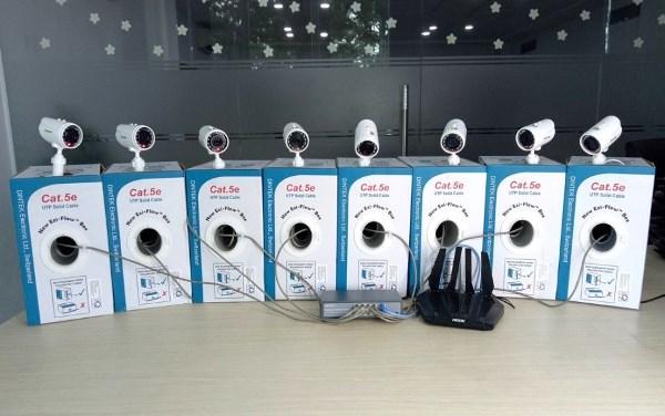 APTEK Switch PoE APTEK SF1082P hoạt động cùng APTEK A134GHU và DNTEK Cat5e